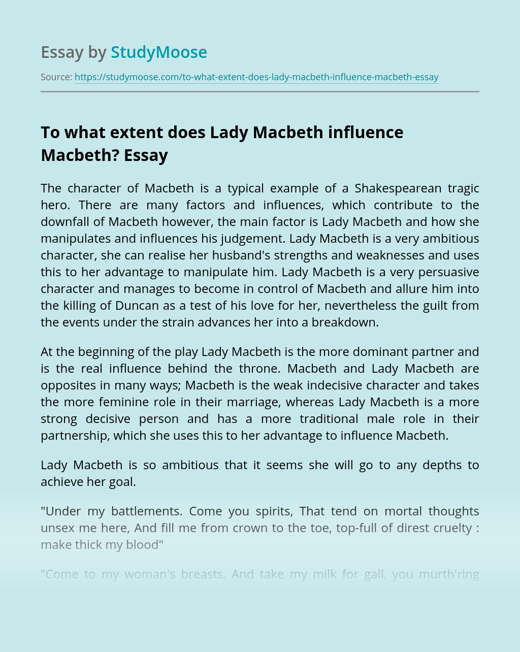 To what extent does Lady Macbeth influence Macbeth?