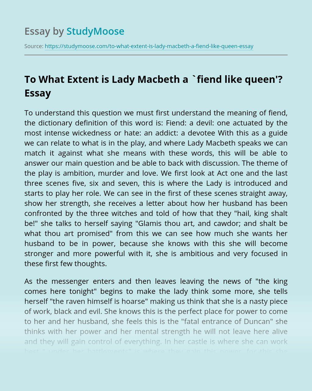 To What Extent is Lady Macbeth a `fiend like queen'?