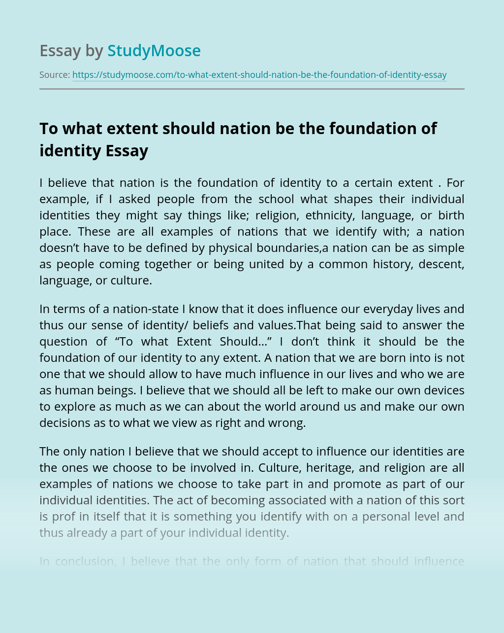 To what extent should nation be the foundation of identity