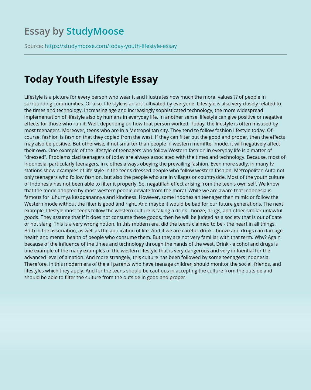 Today Youth Lifestyle
