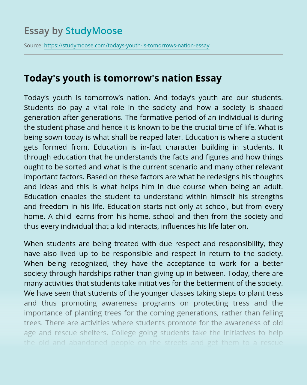 Today's youth is tomorrow's nation