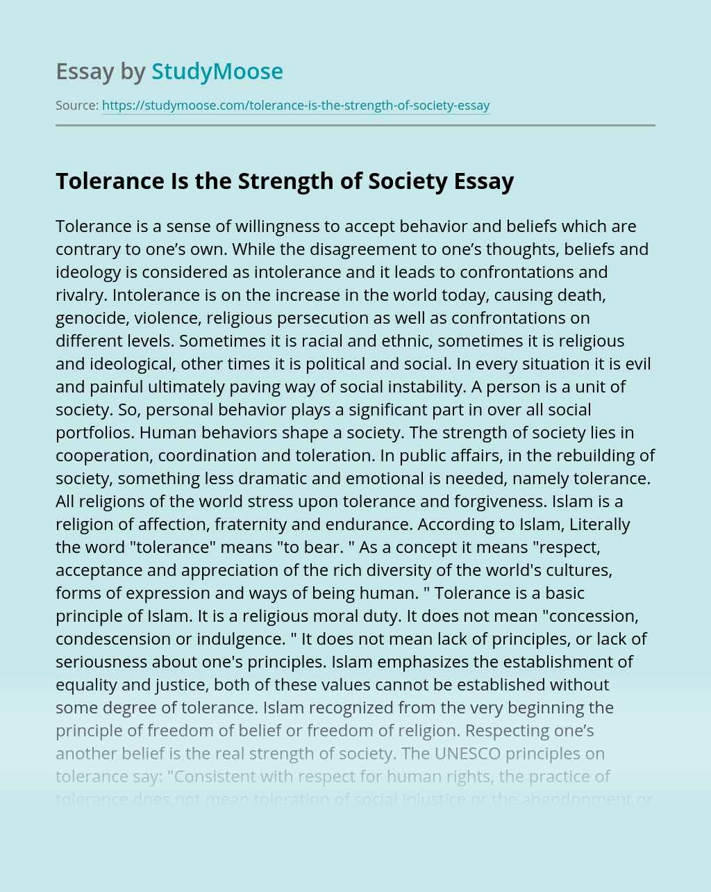Tolerance Is the Strength of Society