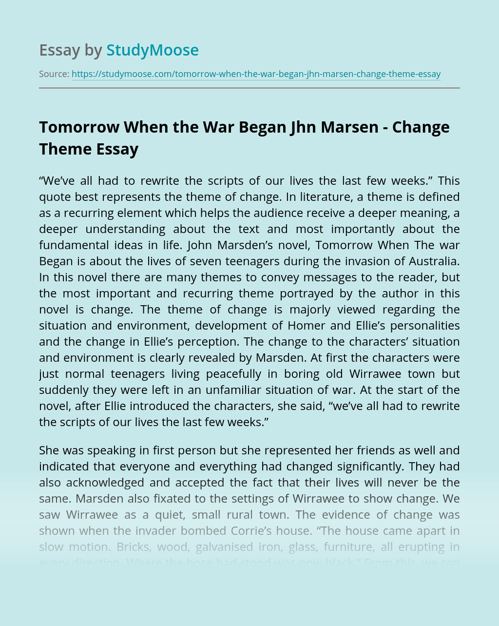 Essay on ellie in tomorrow when the war began sample career summary in resume