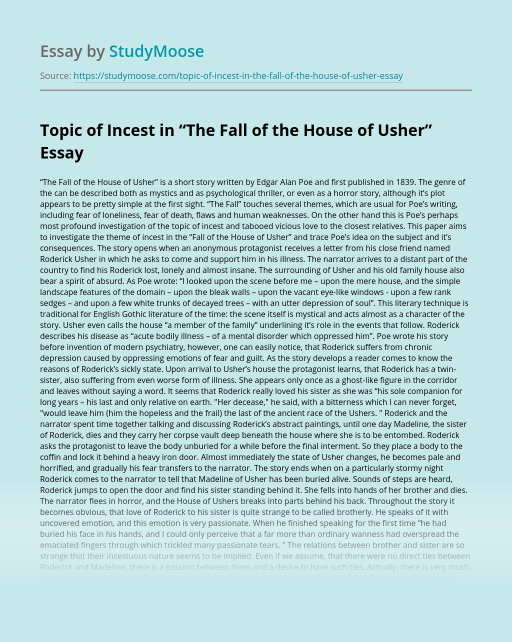 """Topic of Incest in """"The Fall of the House of Usher"""""""