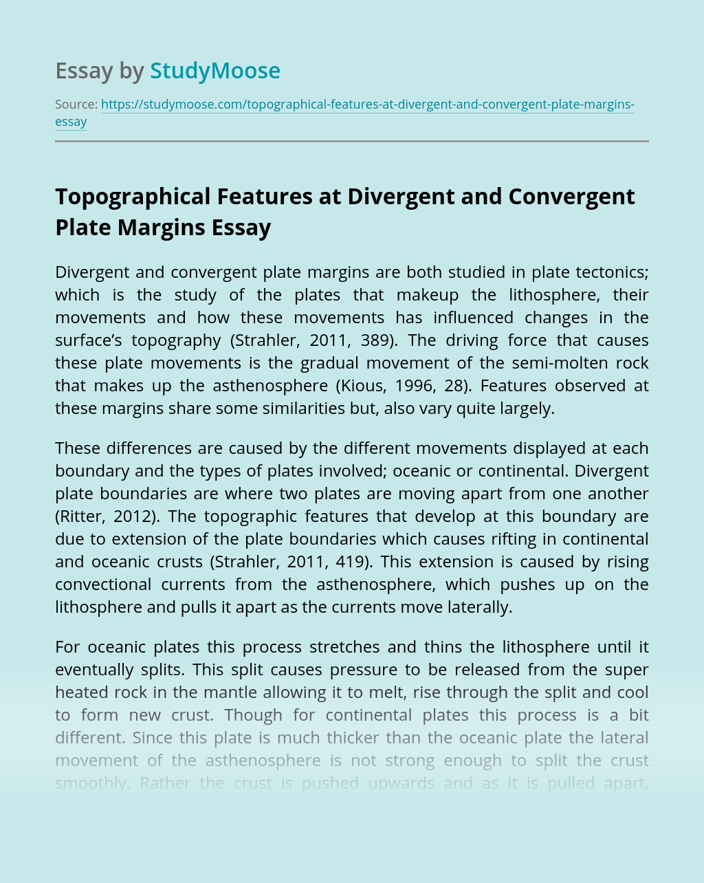 Topographical Features at Divergent and Convergent Plate Margins