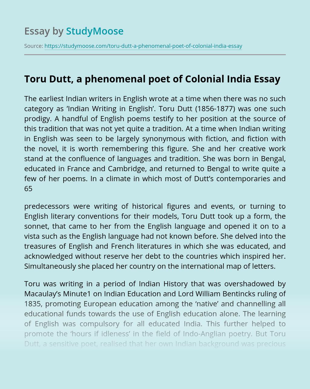 Toru Dutt, a phenomenal poet of Colonial India