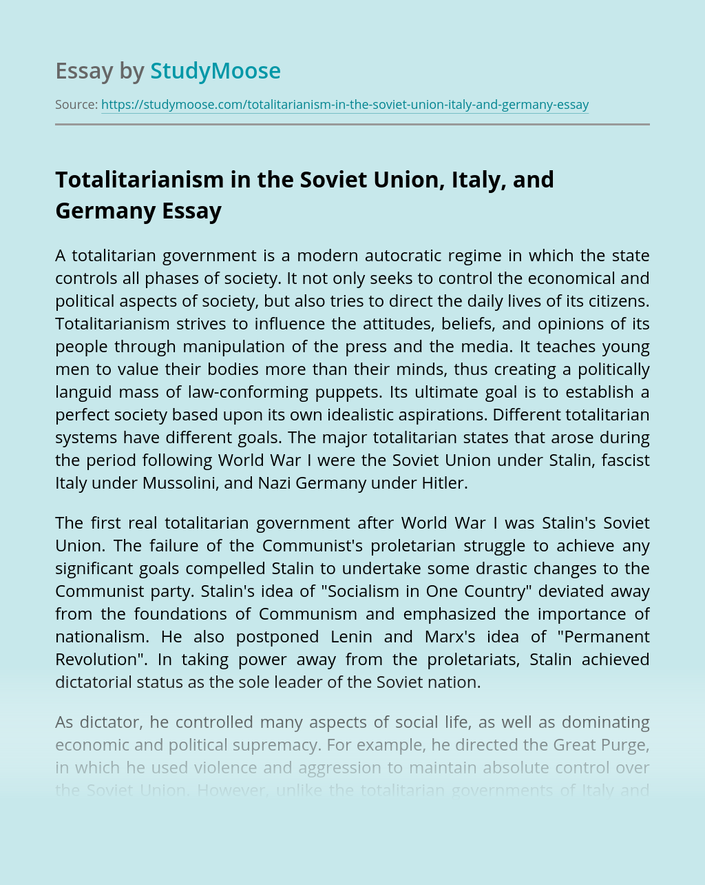 Totalitarianism in the Soviet Union, Italy, and Germany