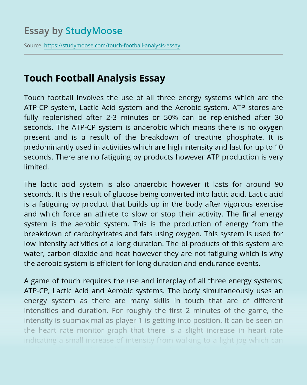 Touch Football Analysis