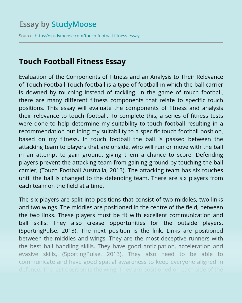 Touch Football Fitness