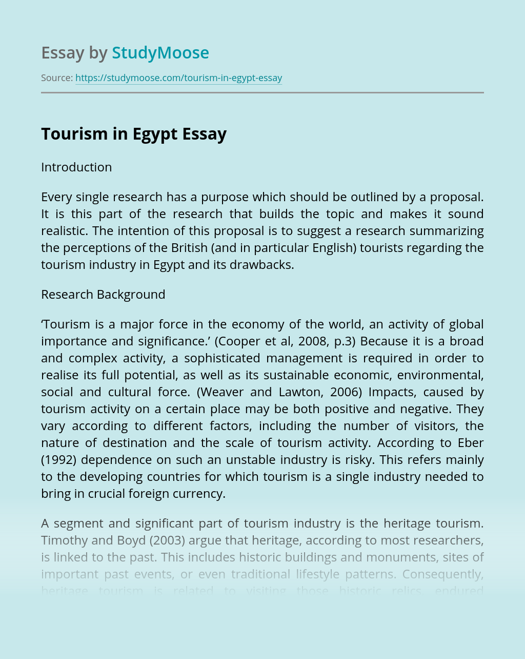Tourism In Egypt Free Essay Example