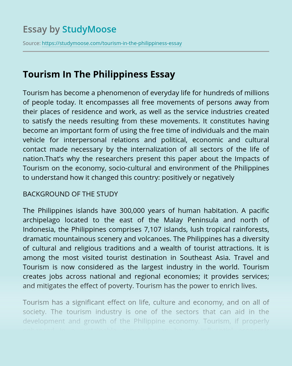 Tourism In The Philippiness