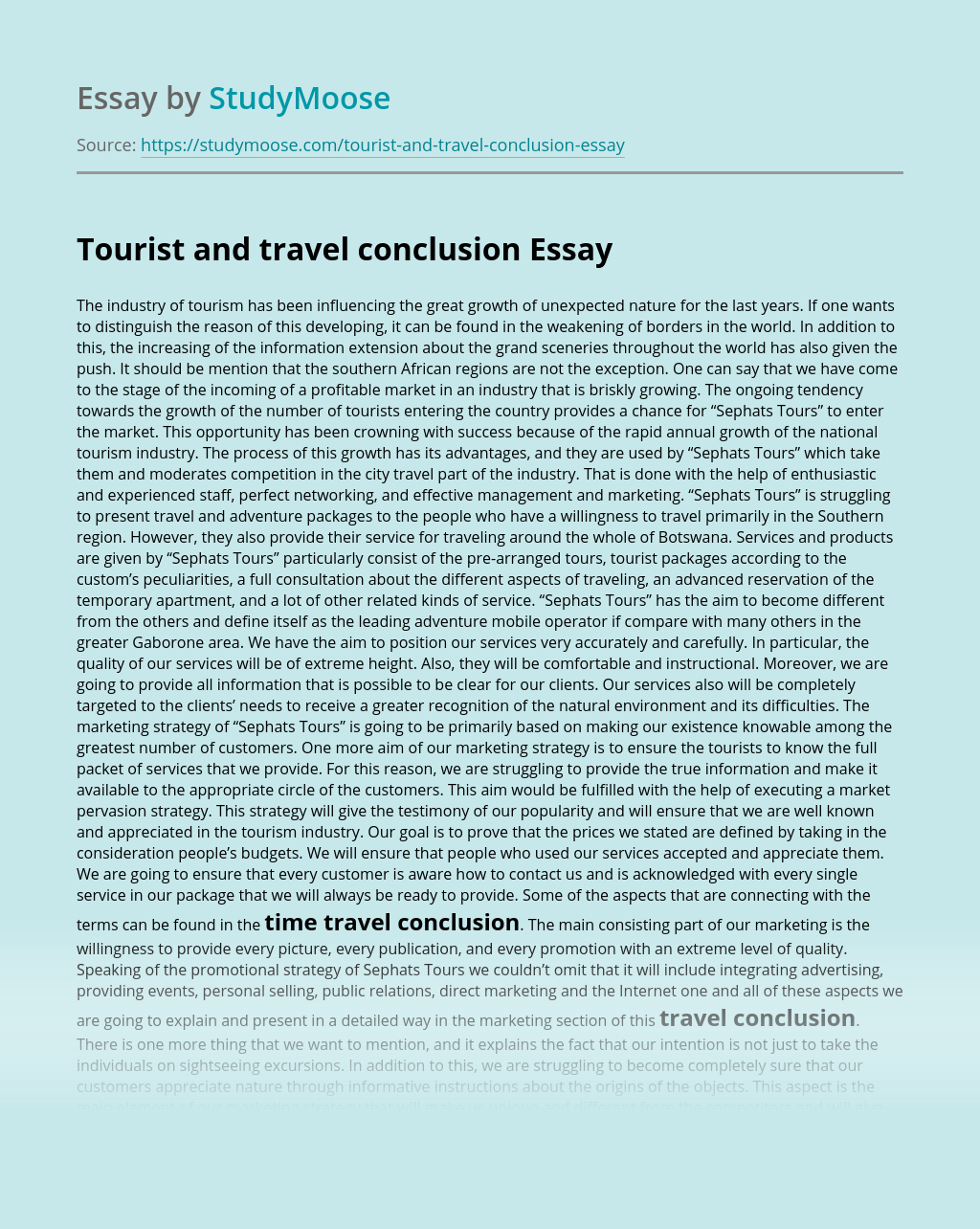 Tourist and travel conclusion