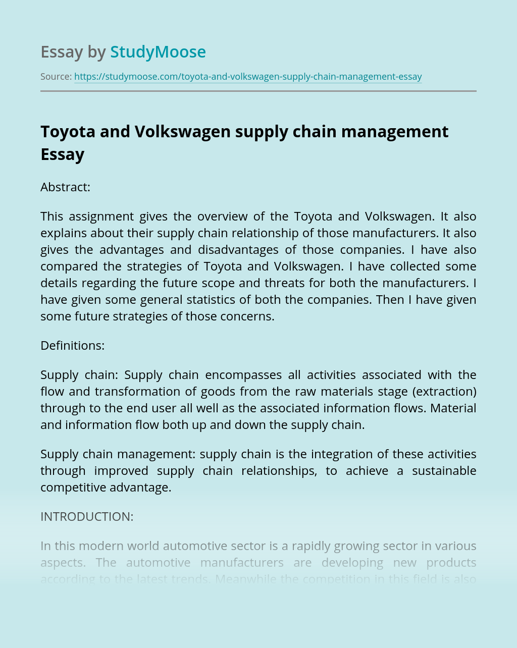Toyota and Volkswagen supply chain management
