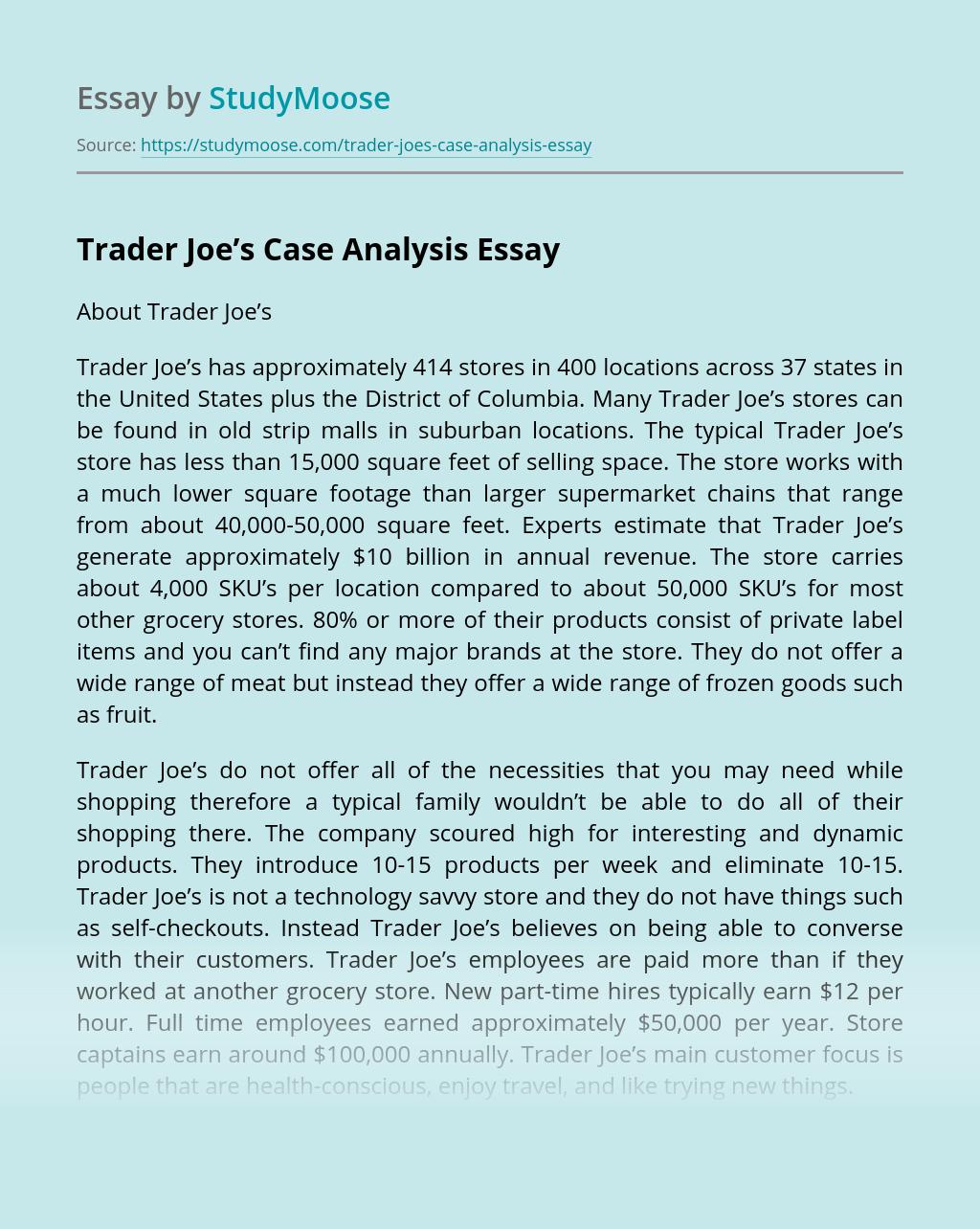 Trader Joe's Case Analysis