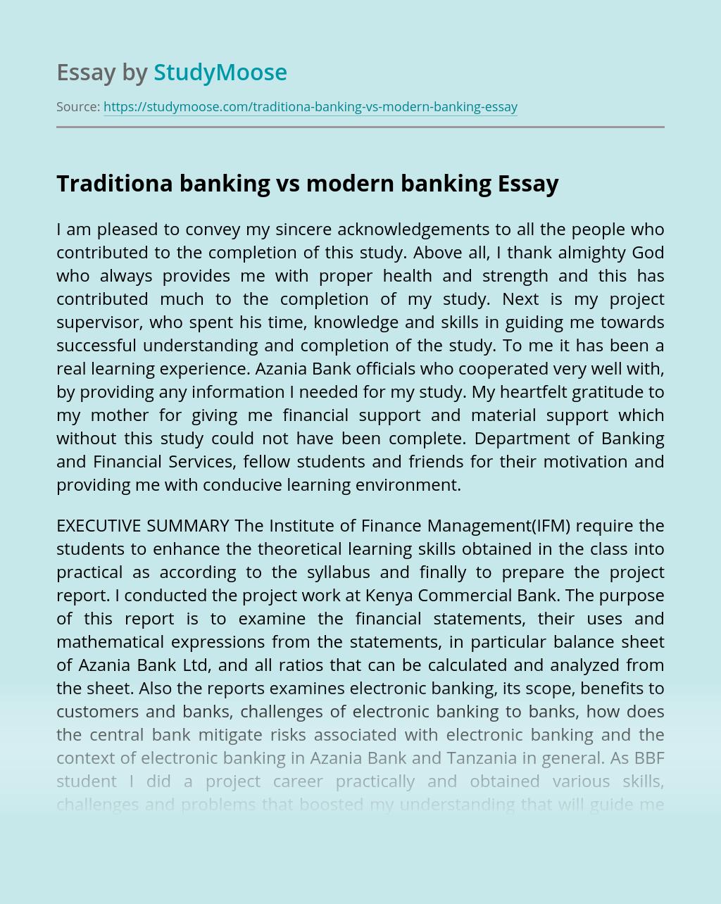 Traditiona banking vs modern banking