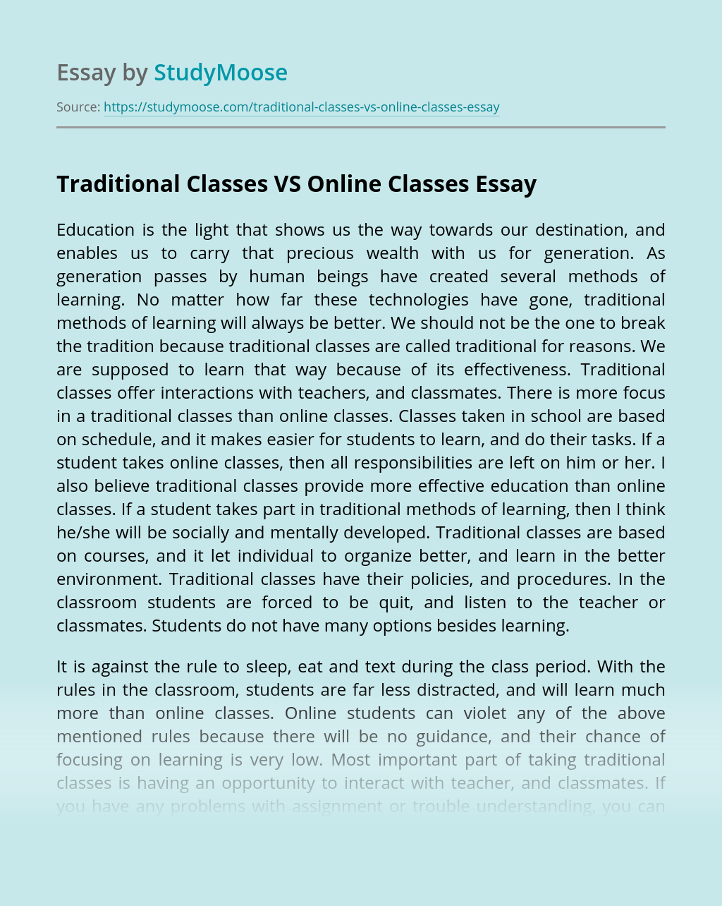 Traditional Classes VS Online Classes