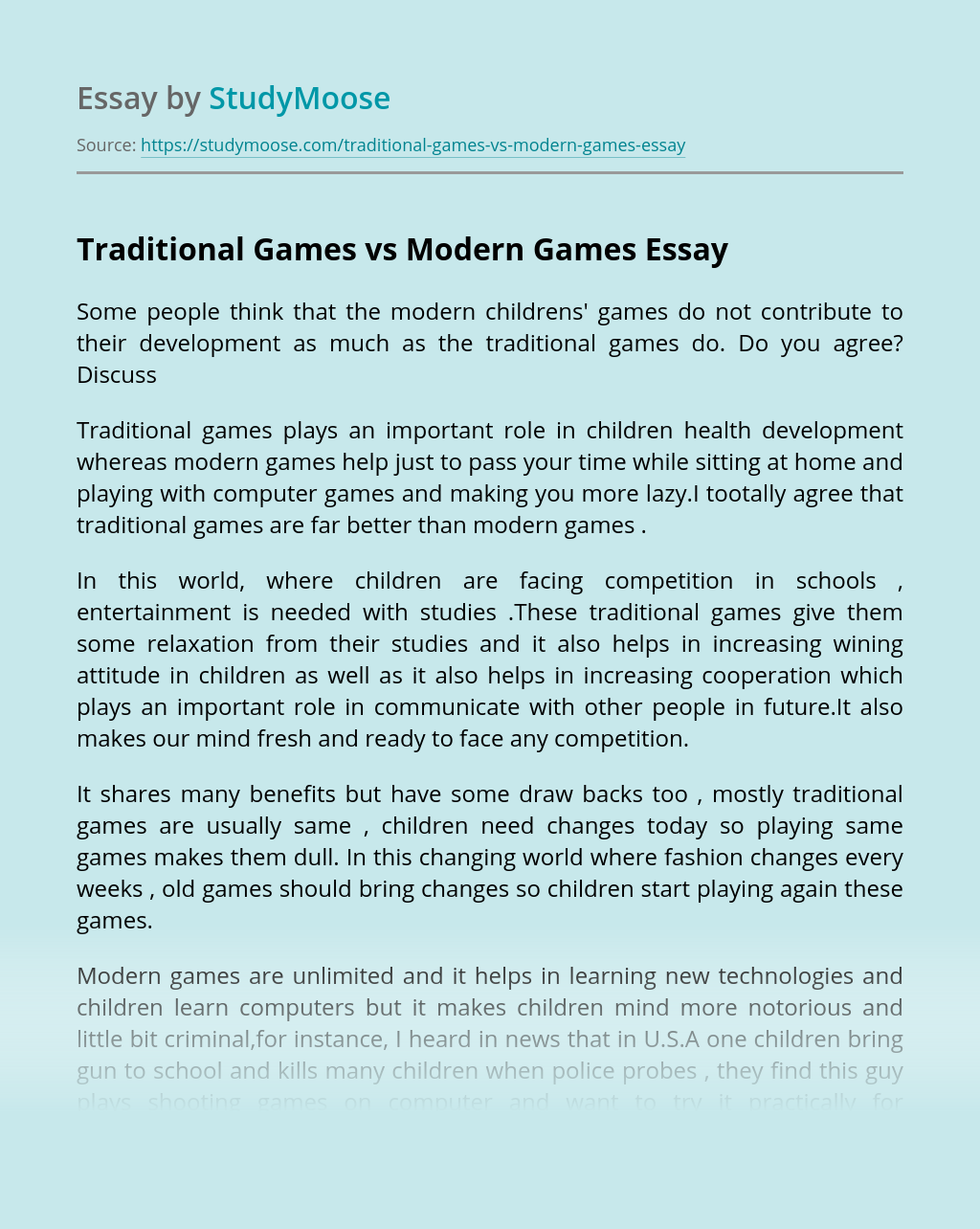 Traditional Games vs Modern Games