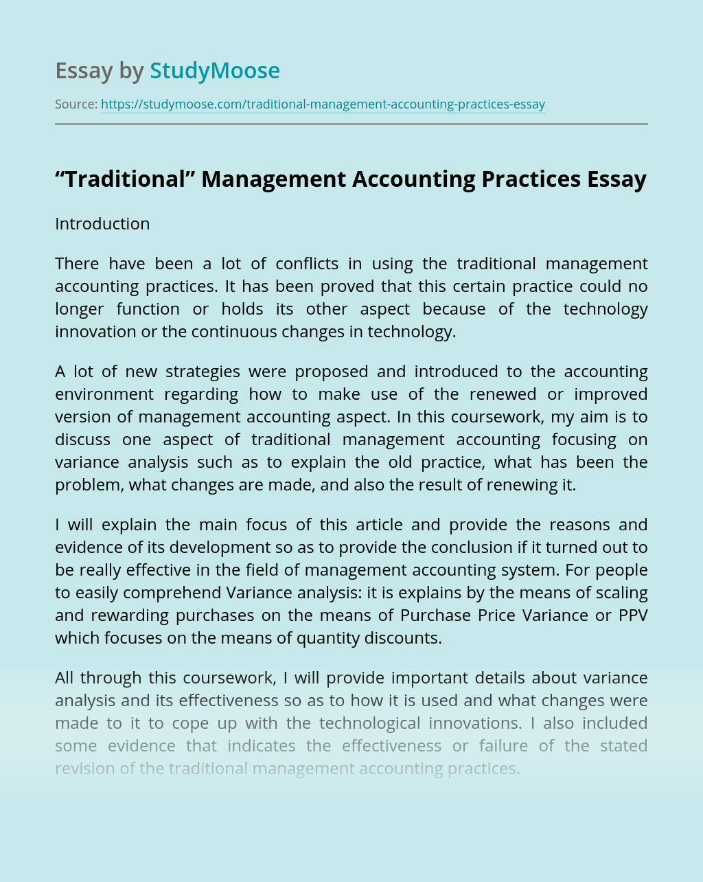 """Traditional"" Management Accounting Practices"