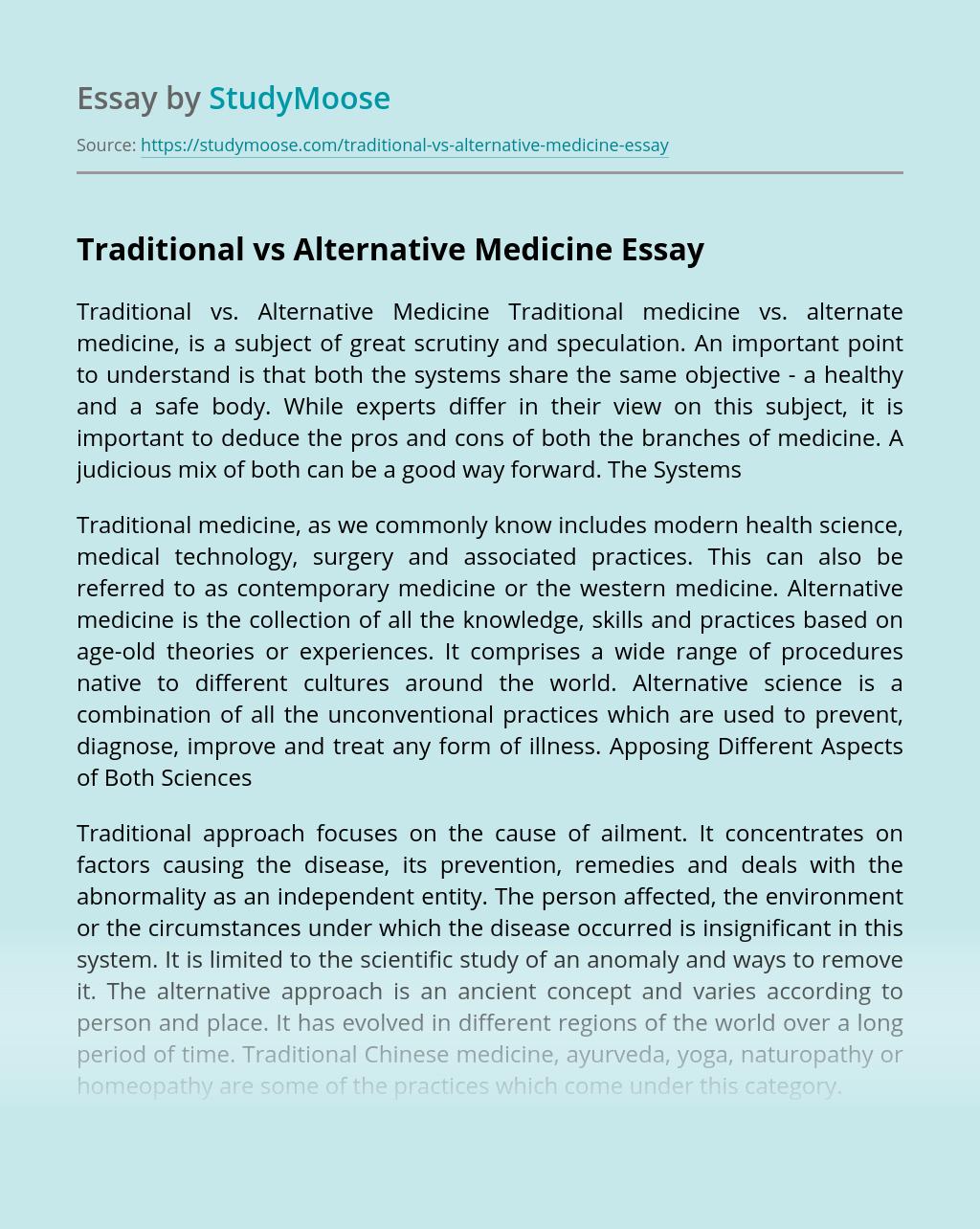 Traditional vs Alternative Medicine
