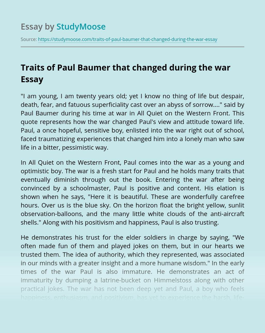 Traits of Paul Baumer that changed during the war