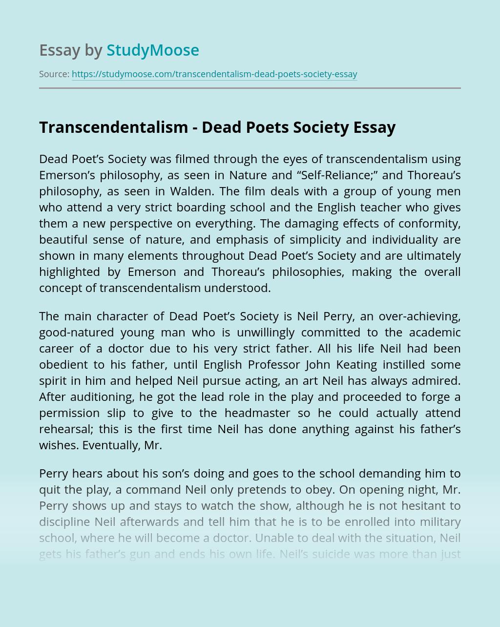 Transcendentalism - Dead Poets Society