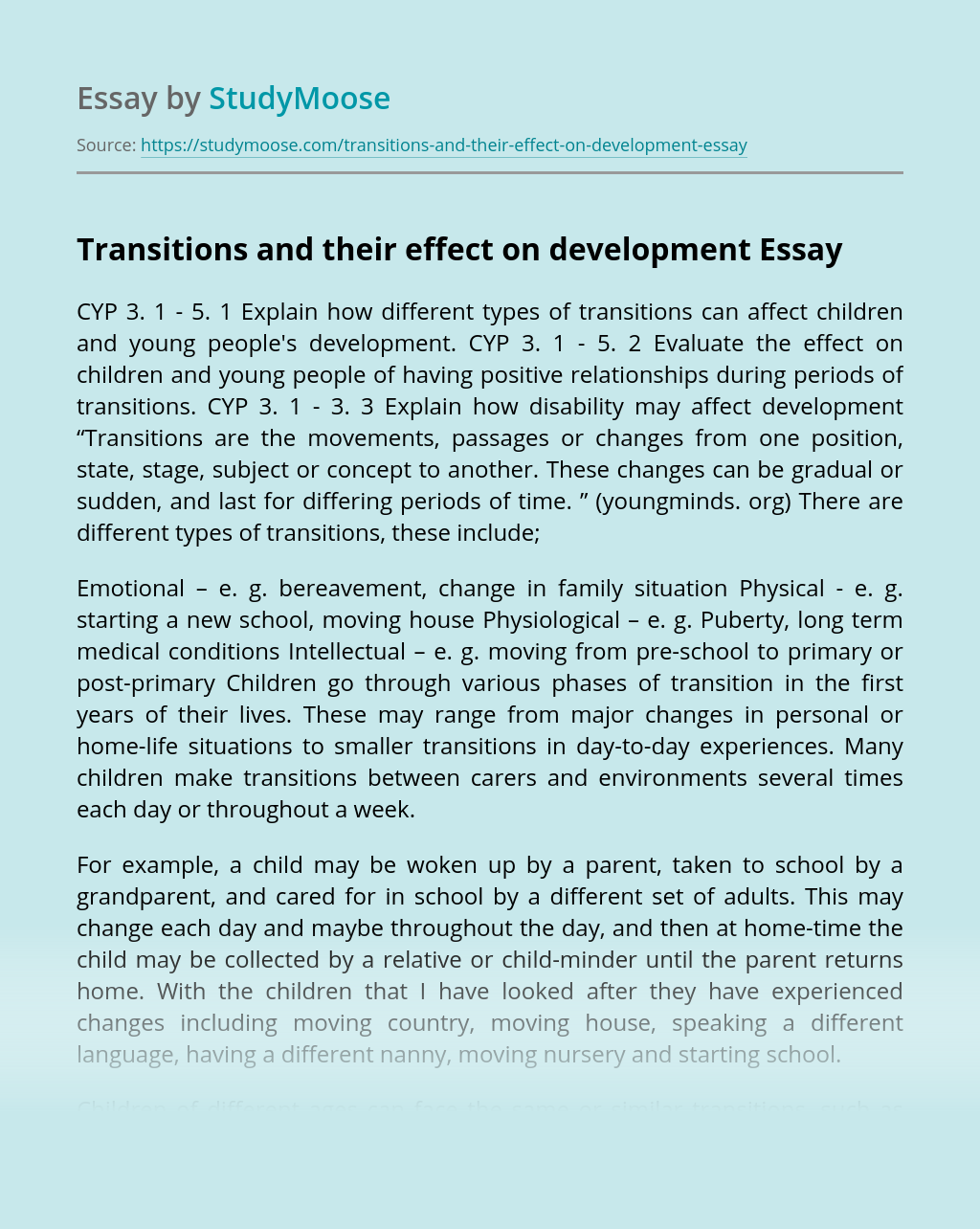 Transitions and their effect on development