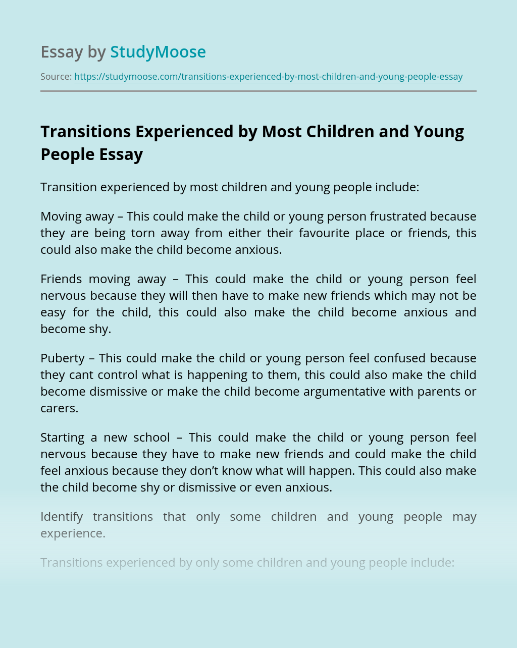 Transitions Experienced by Most Children and Young People