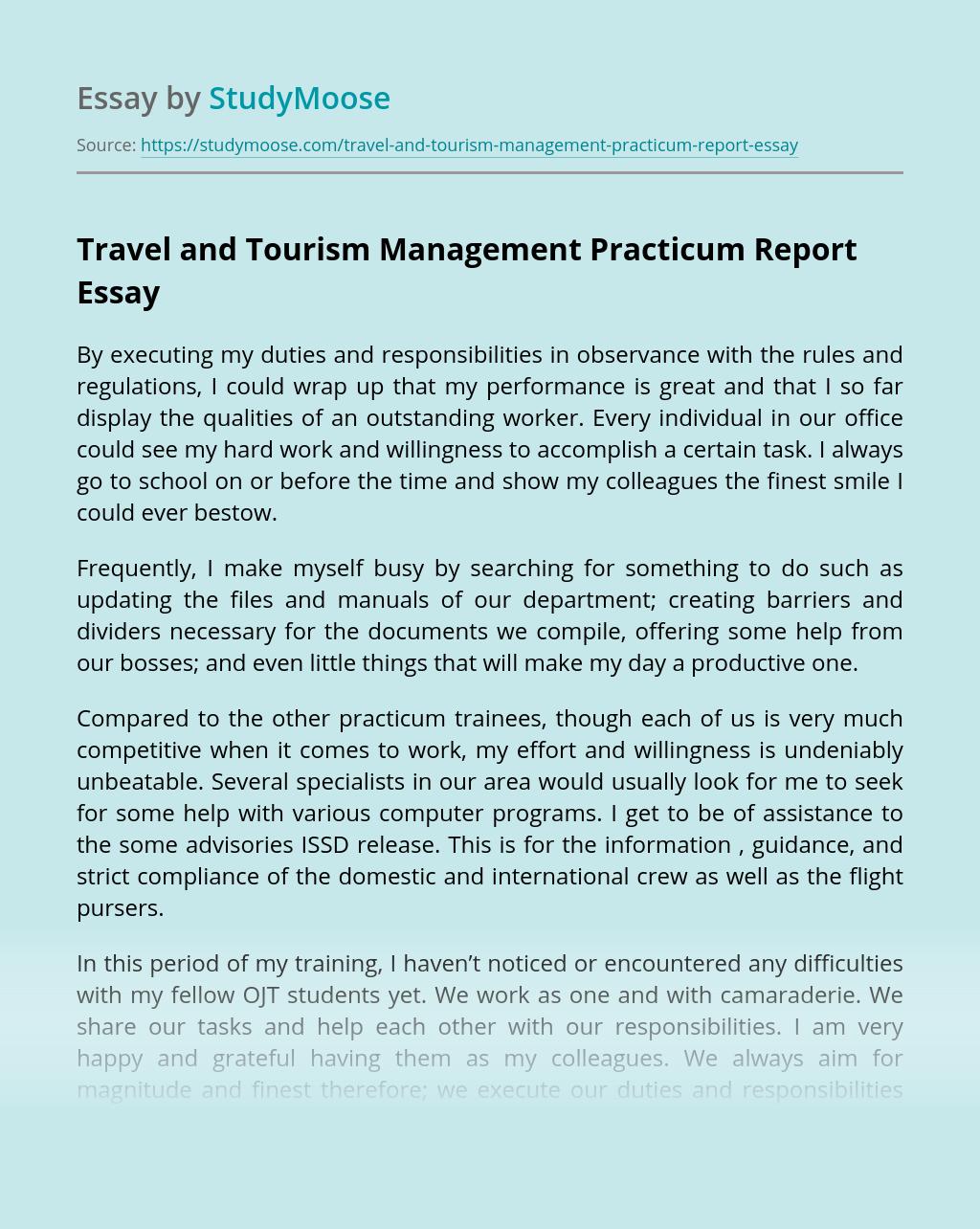 Travel and Tourism Management Practicum Report