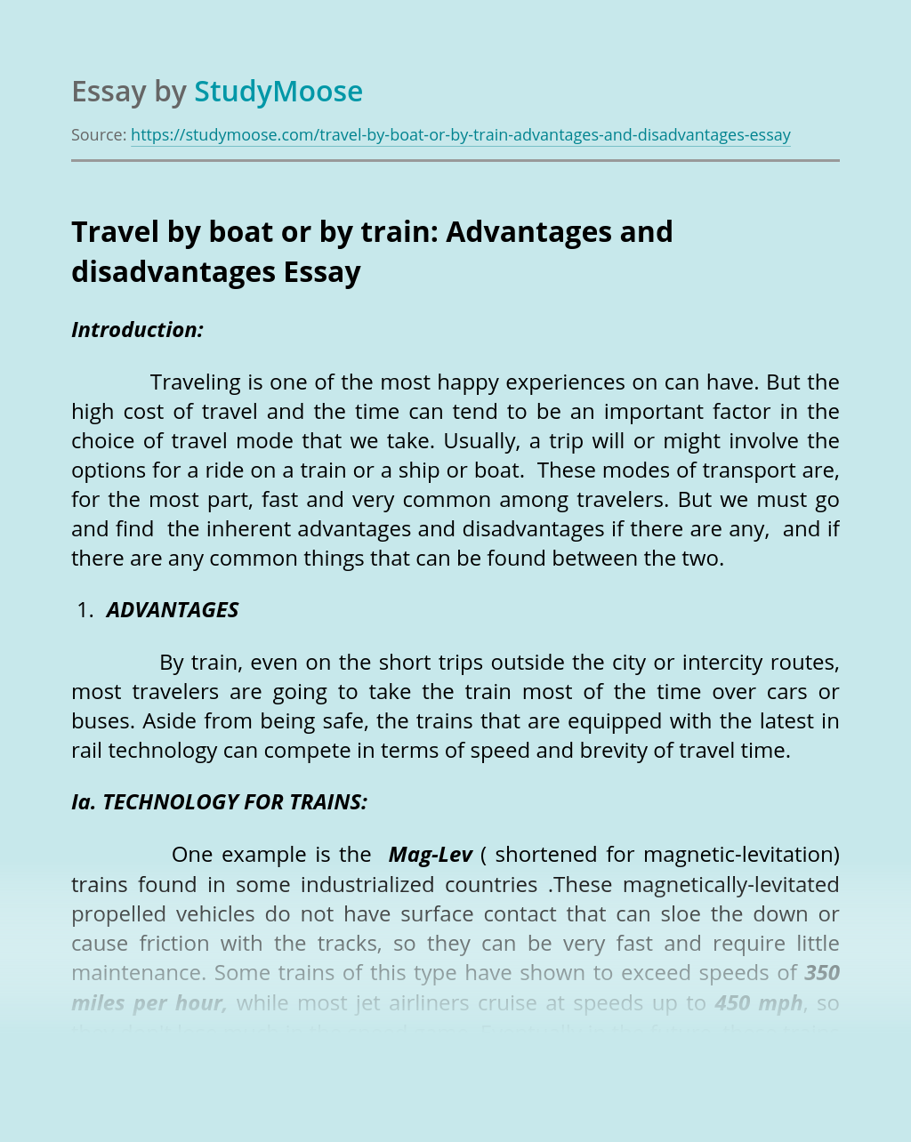 Travel By Boat Or By Train Advantages And Disadvantages Free Essay Example