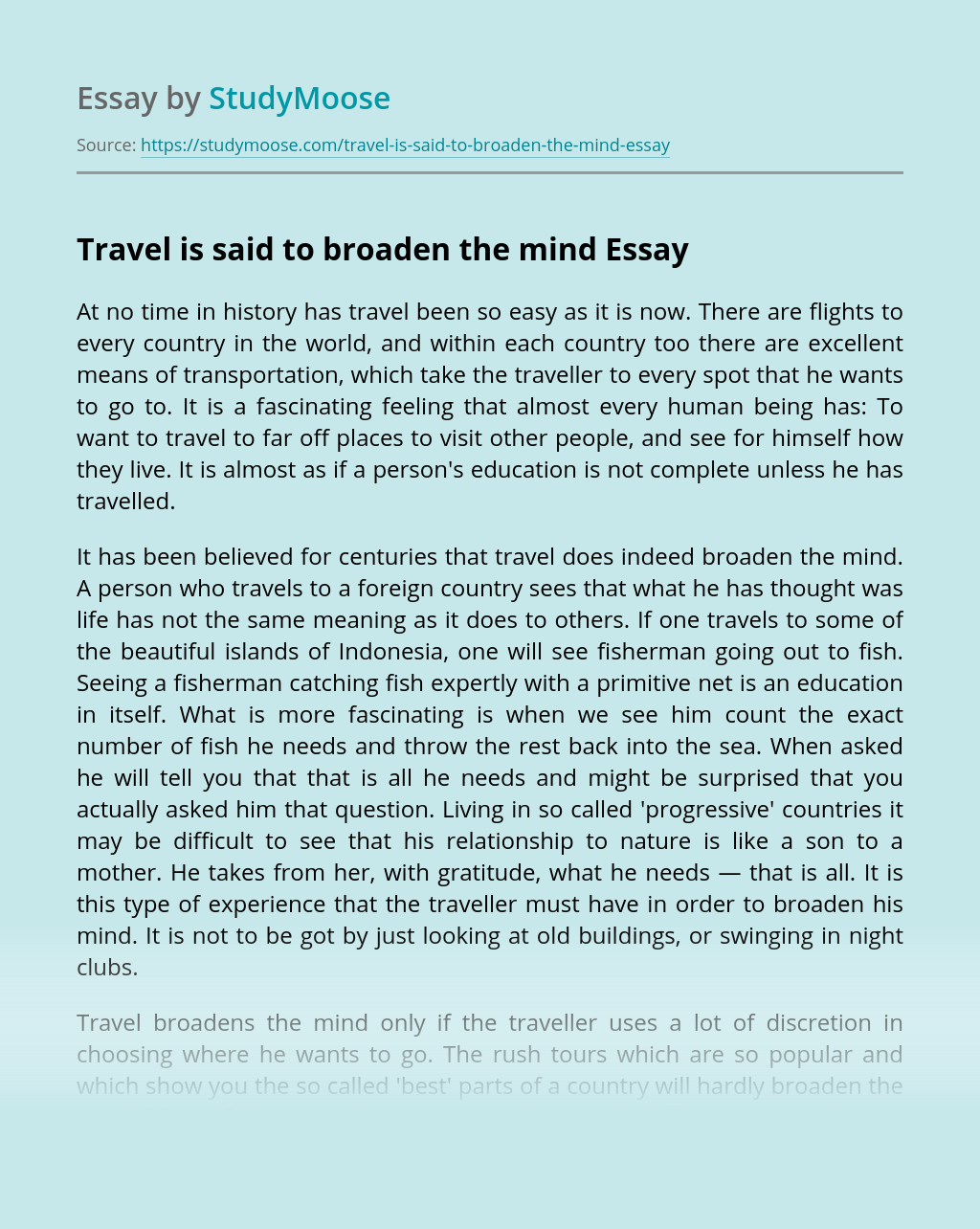 Travelling broadens the mind essay popular assignment writing services