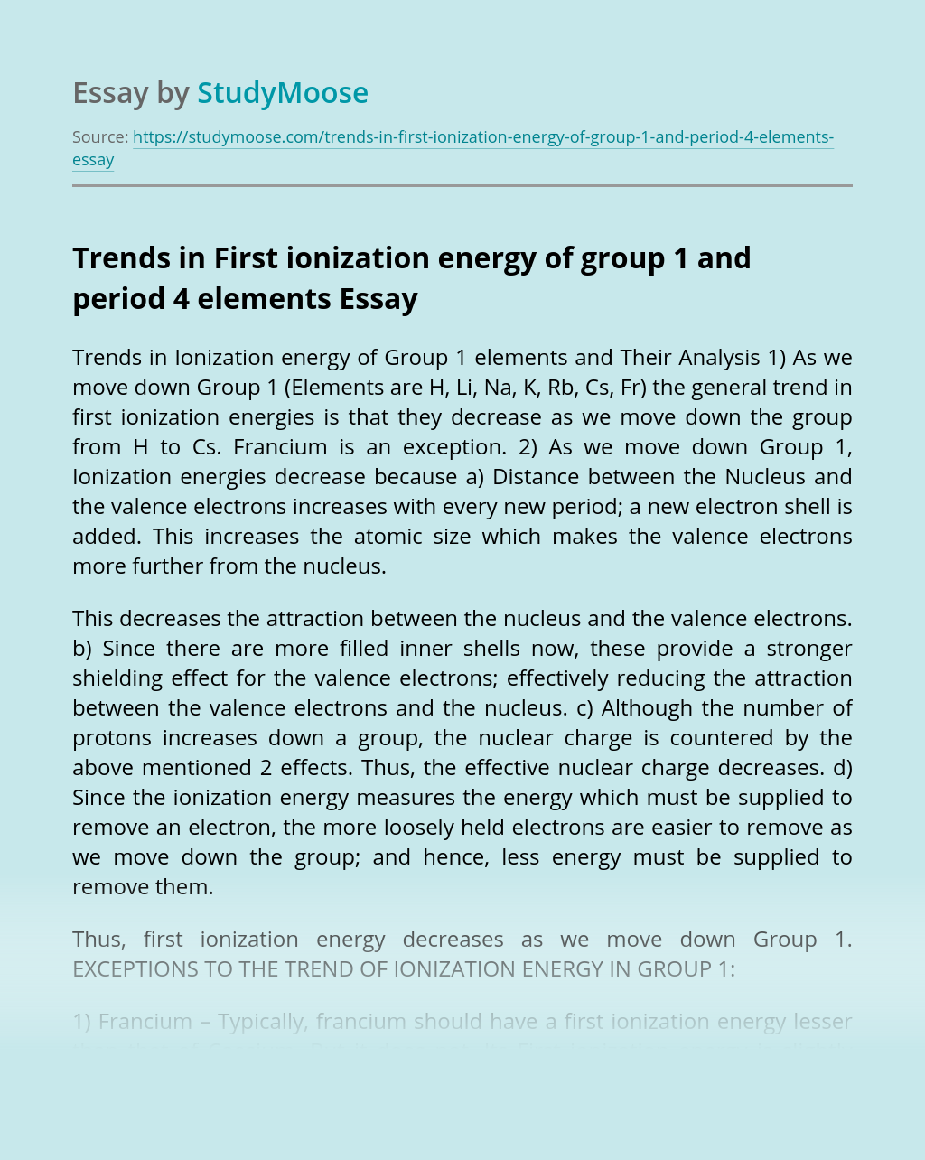 Trends in First ionization energy of group 1 and period 4 elements