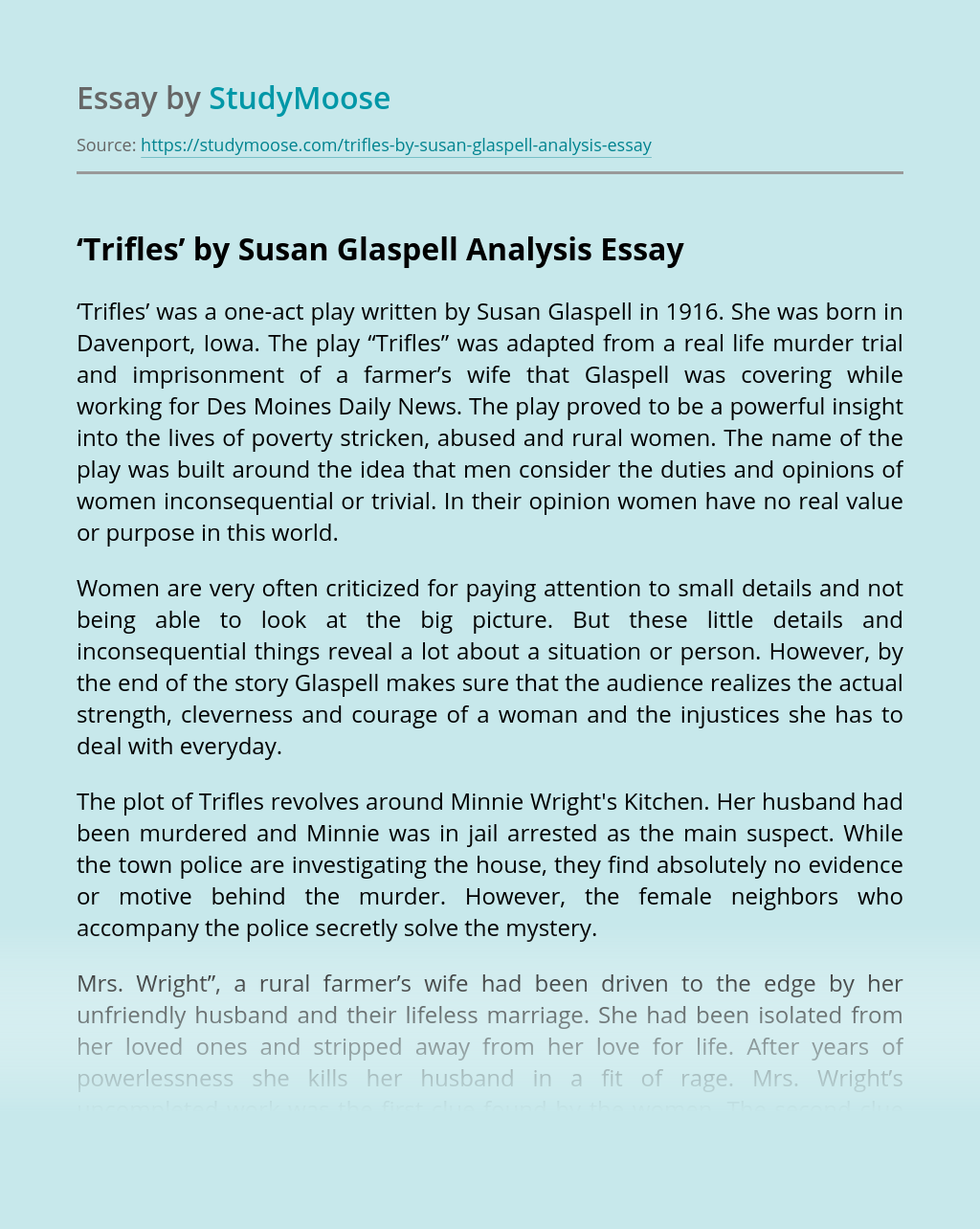 Trifle susan glaspell essay analytical analysis essay