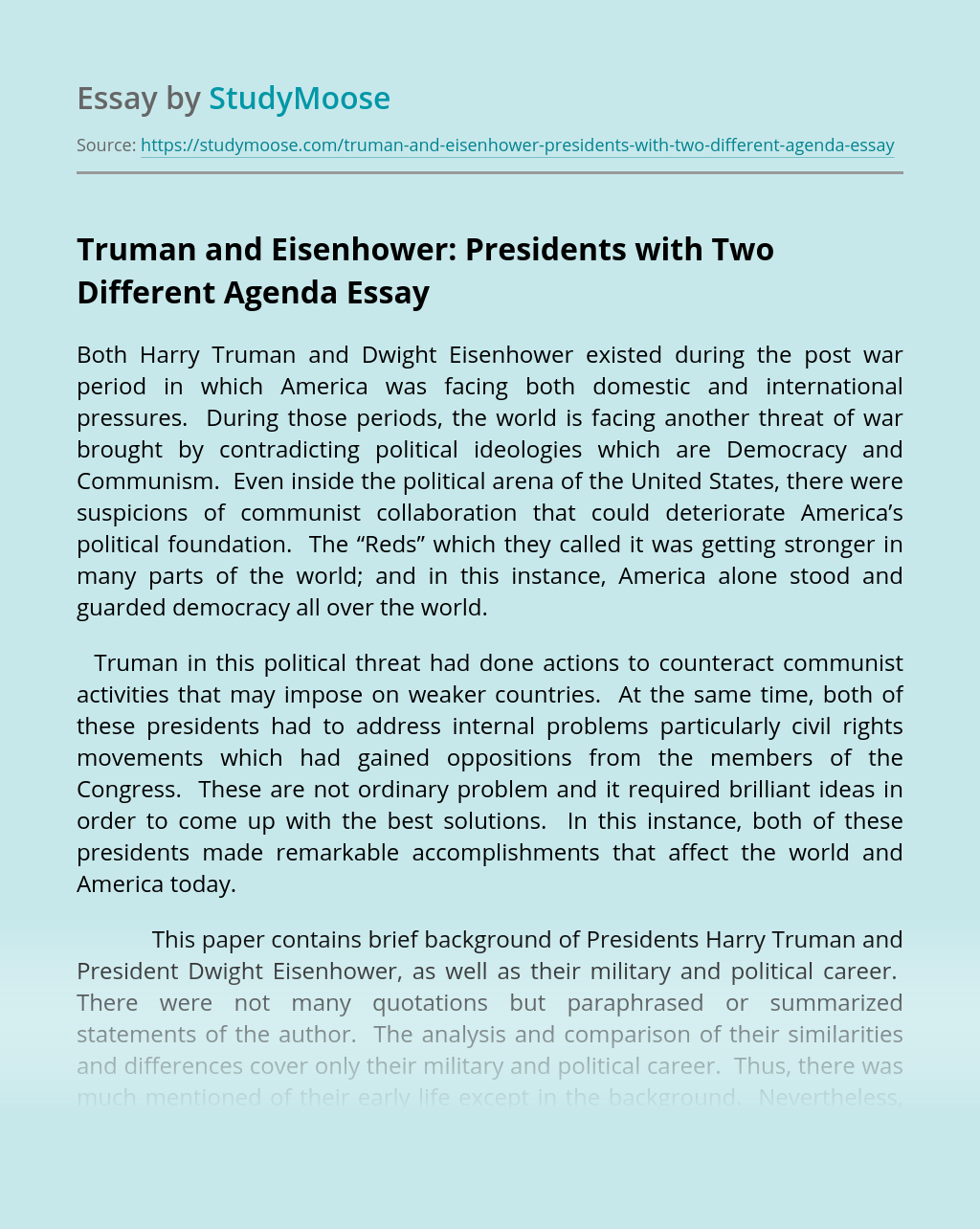Truman and Eisenhower: Presidents with Two Different Agenda