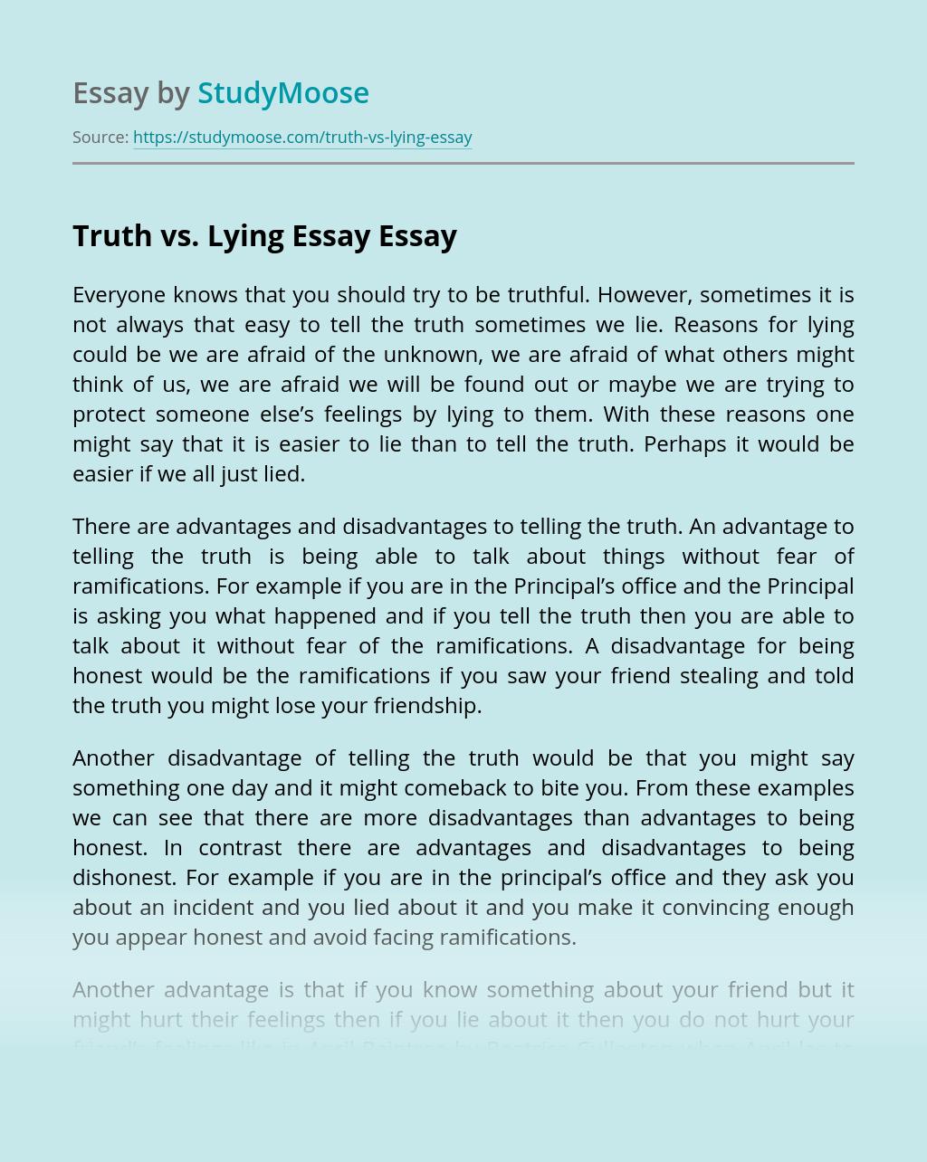 Truth vs. Lying Essay
