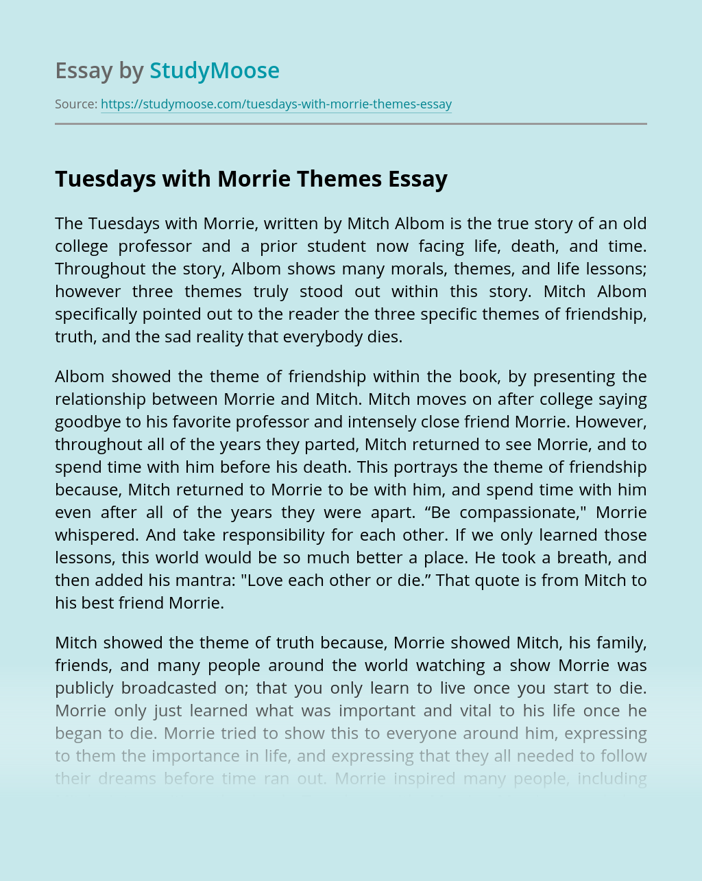 Tuesdays with Morrie Themes