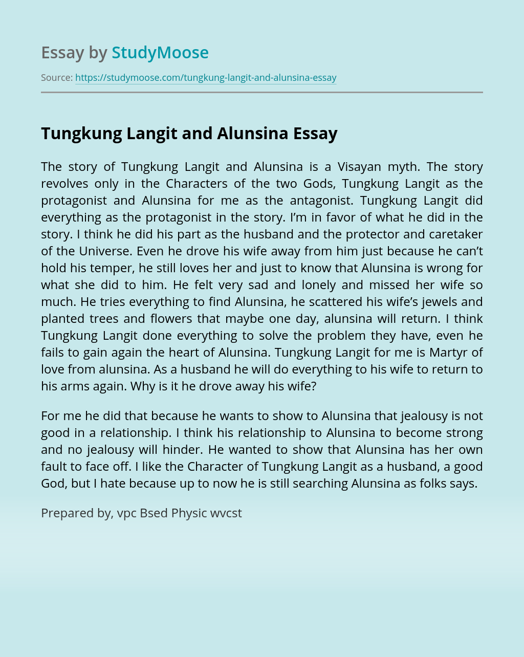 Tungkung Langit and Alunsina