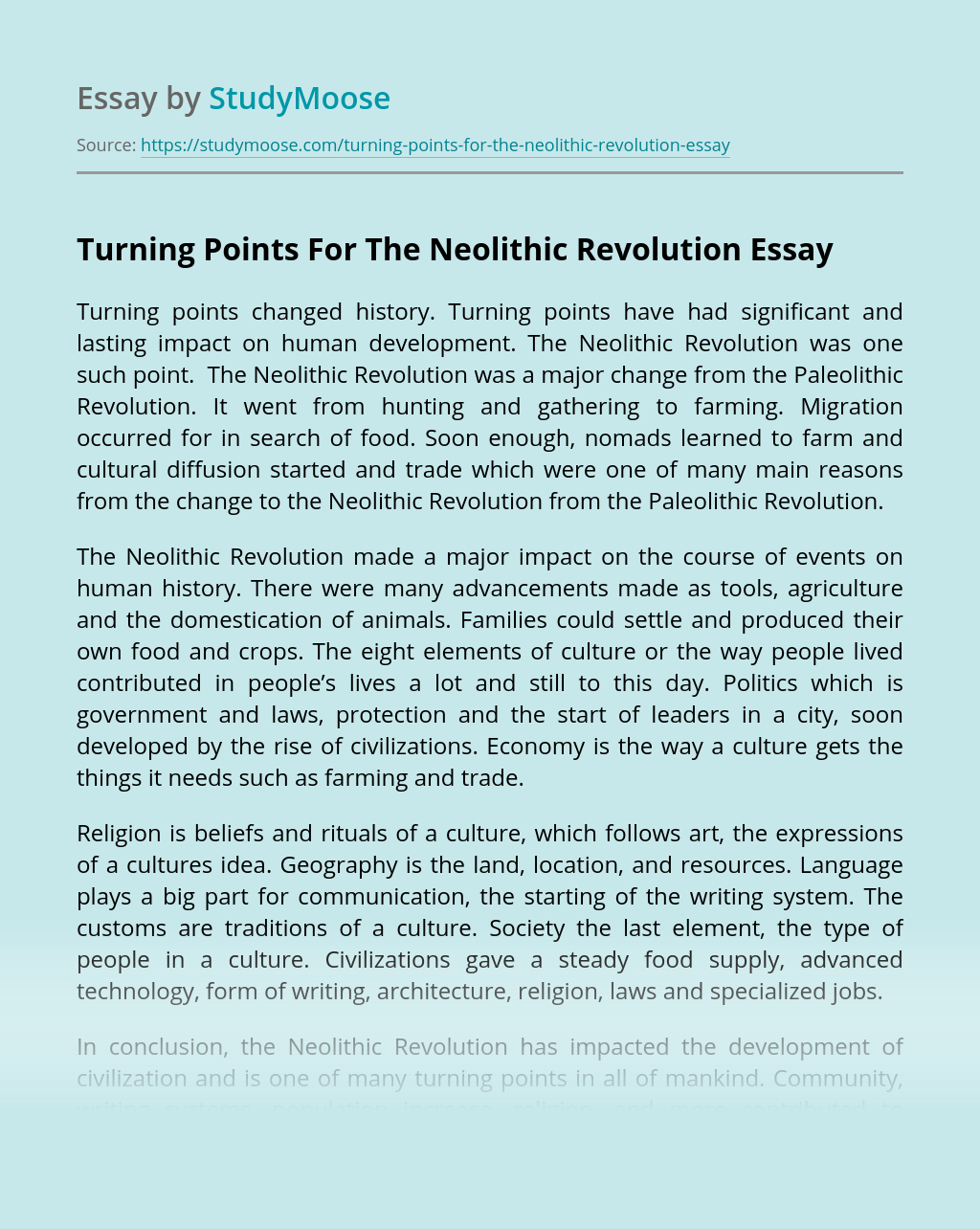 Turning Points For The Neolithic Revolution