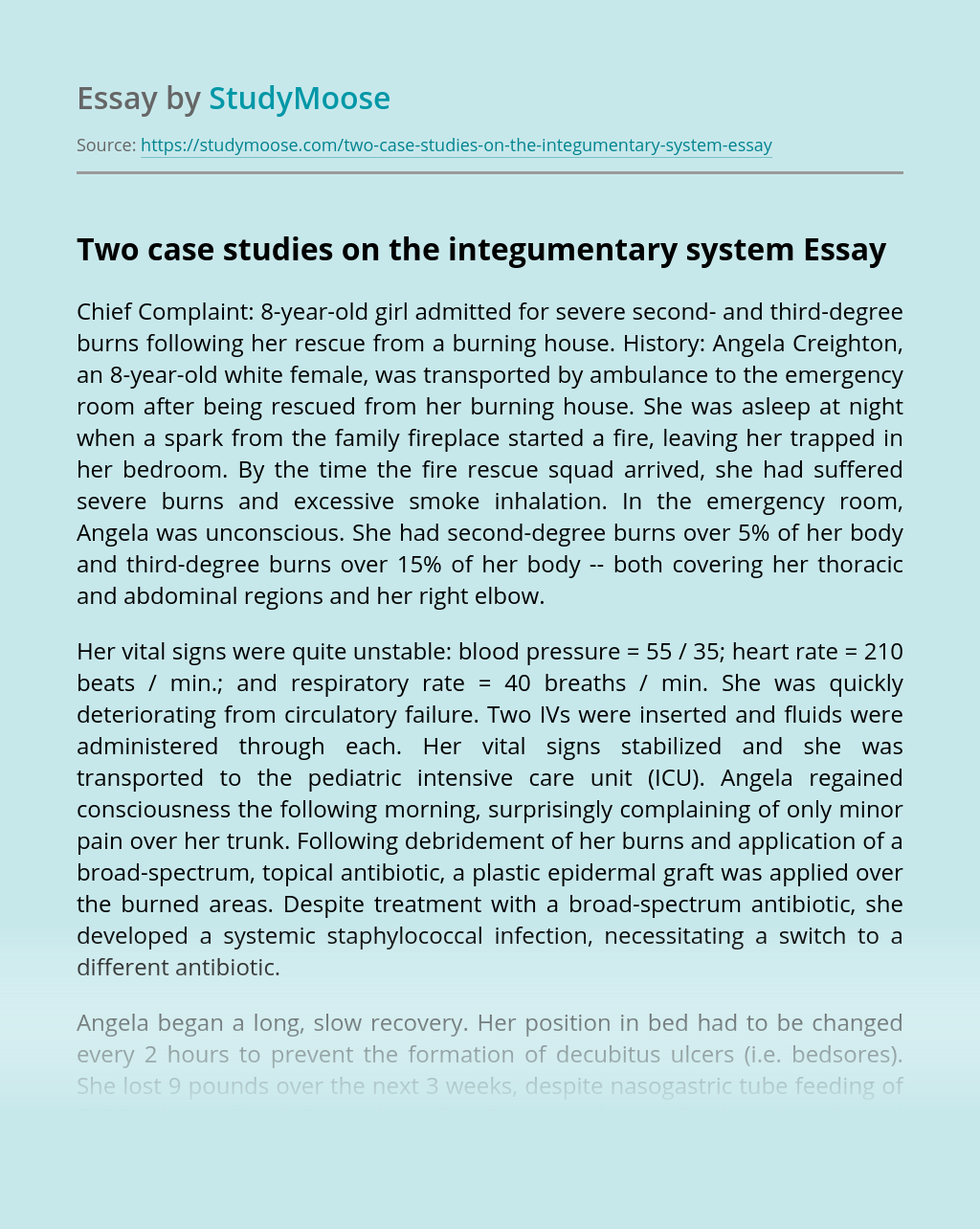Two case studies on the integumentary system