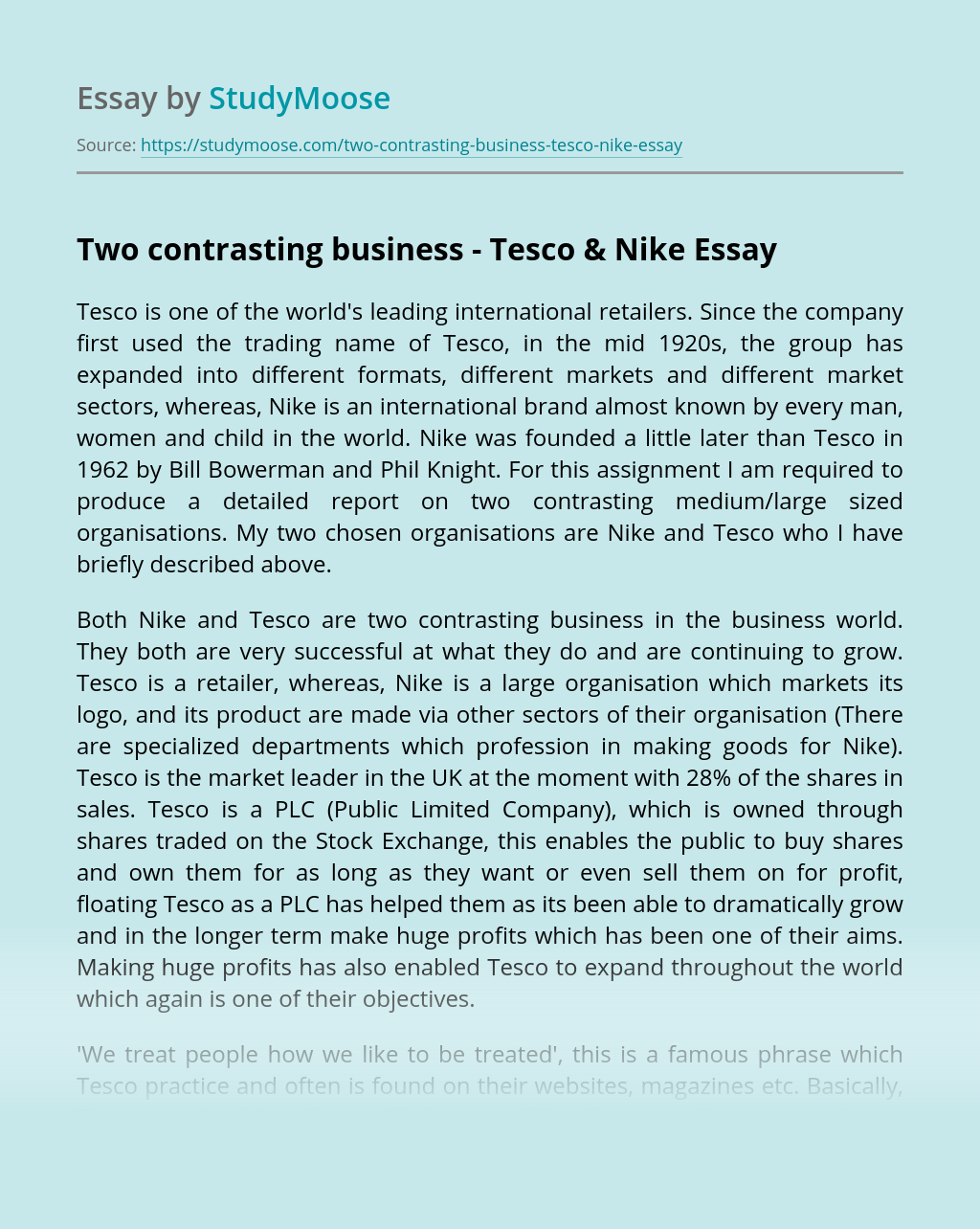 Two contrasting business – Tesco & Nike
