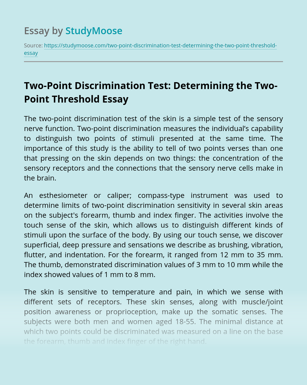Two-Point Discrimination Test: Determining the Two-Point Threshold