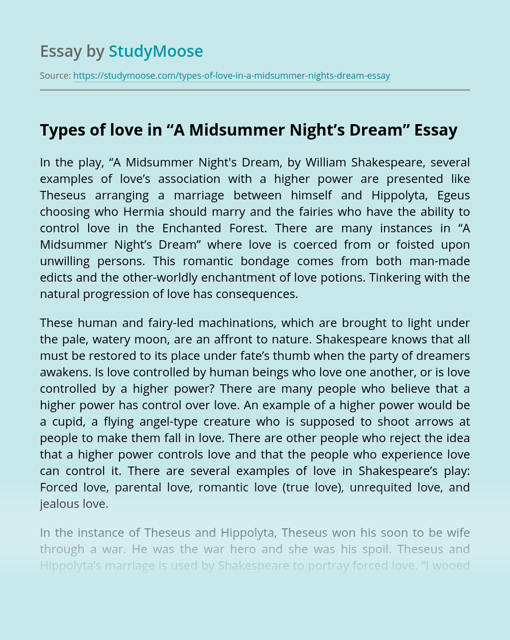 "Types of love in ""A Midsummer Night's Dream"""