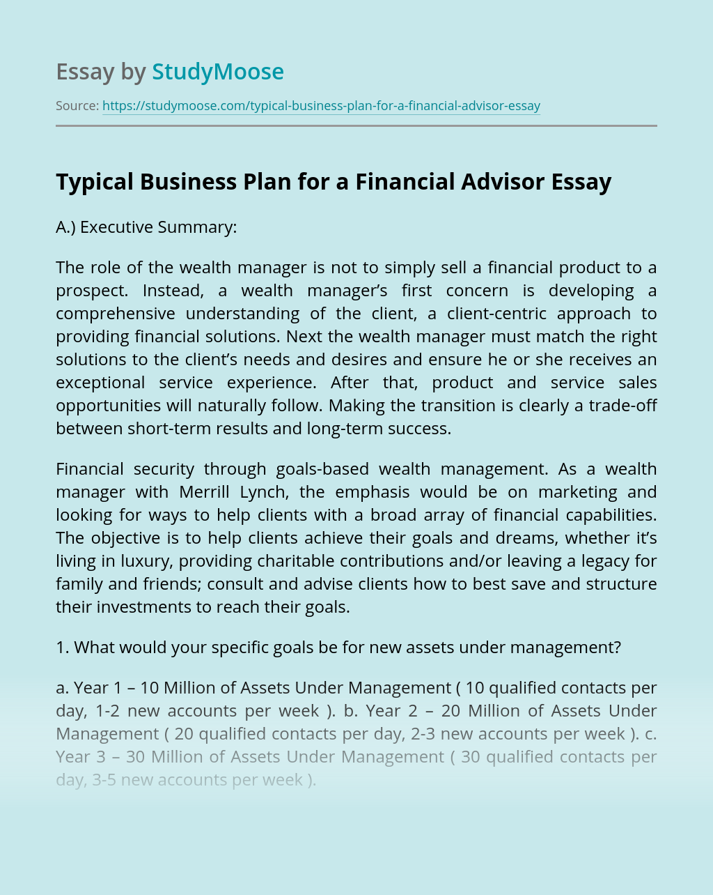 Typical Business Plan for a Financial Advisor