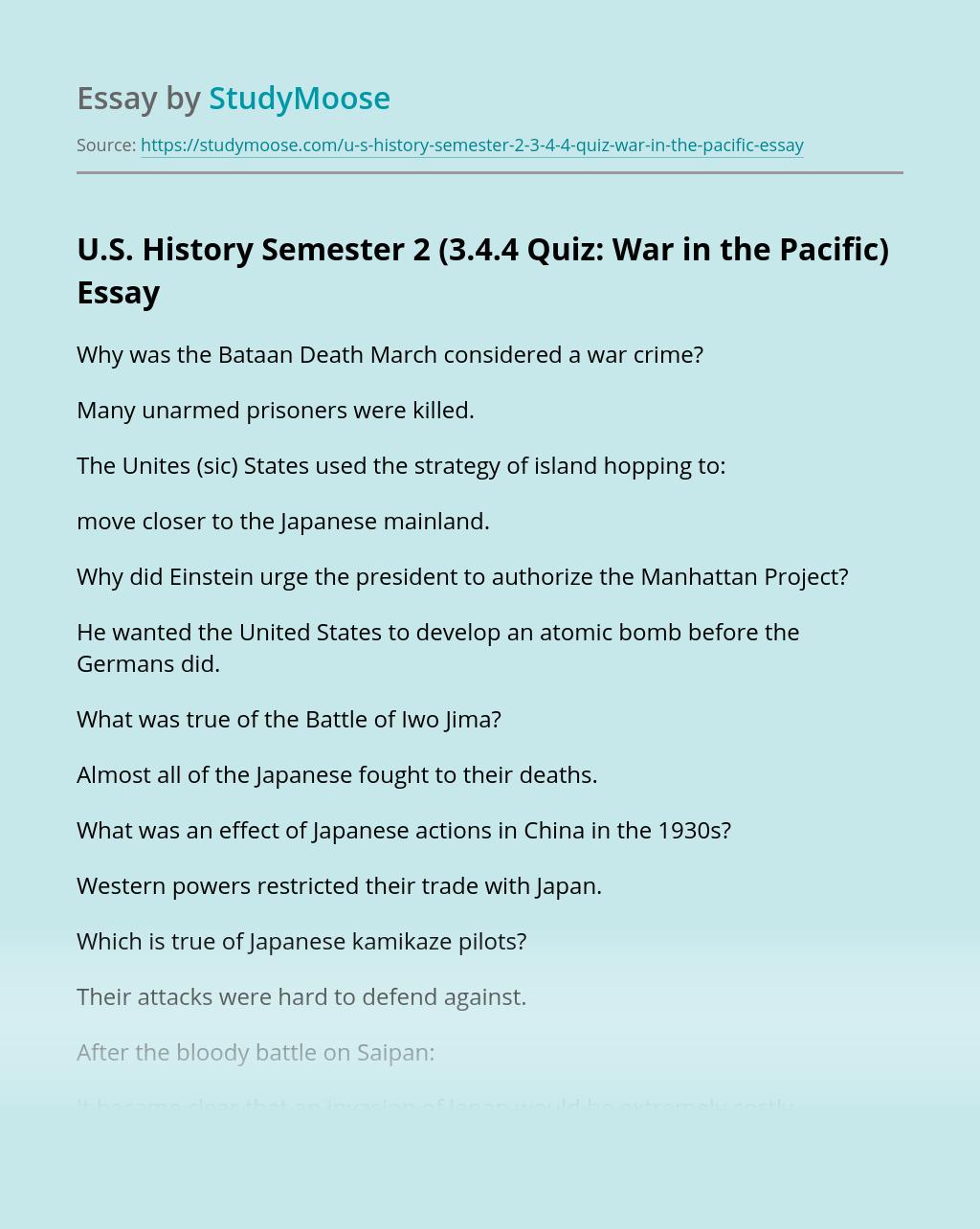 U.S. History: Semester 2(Quiz: War in the Pacific)