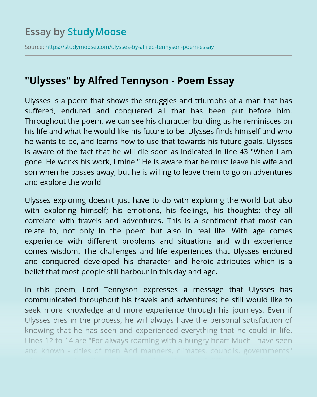 Ulysses Essay Example