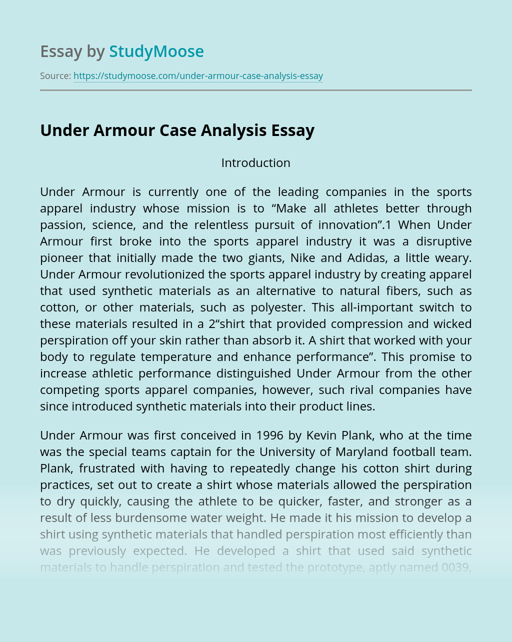 Under Armour Business Success Analysis