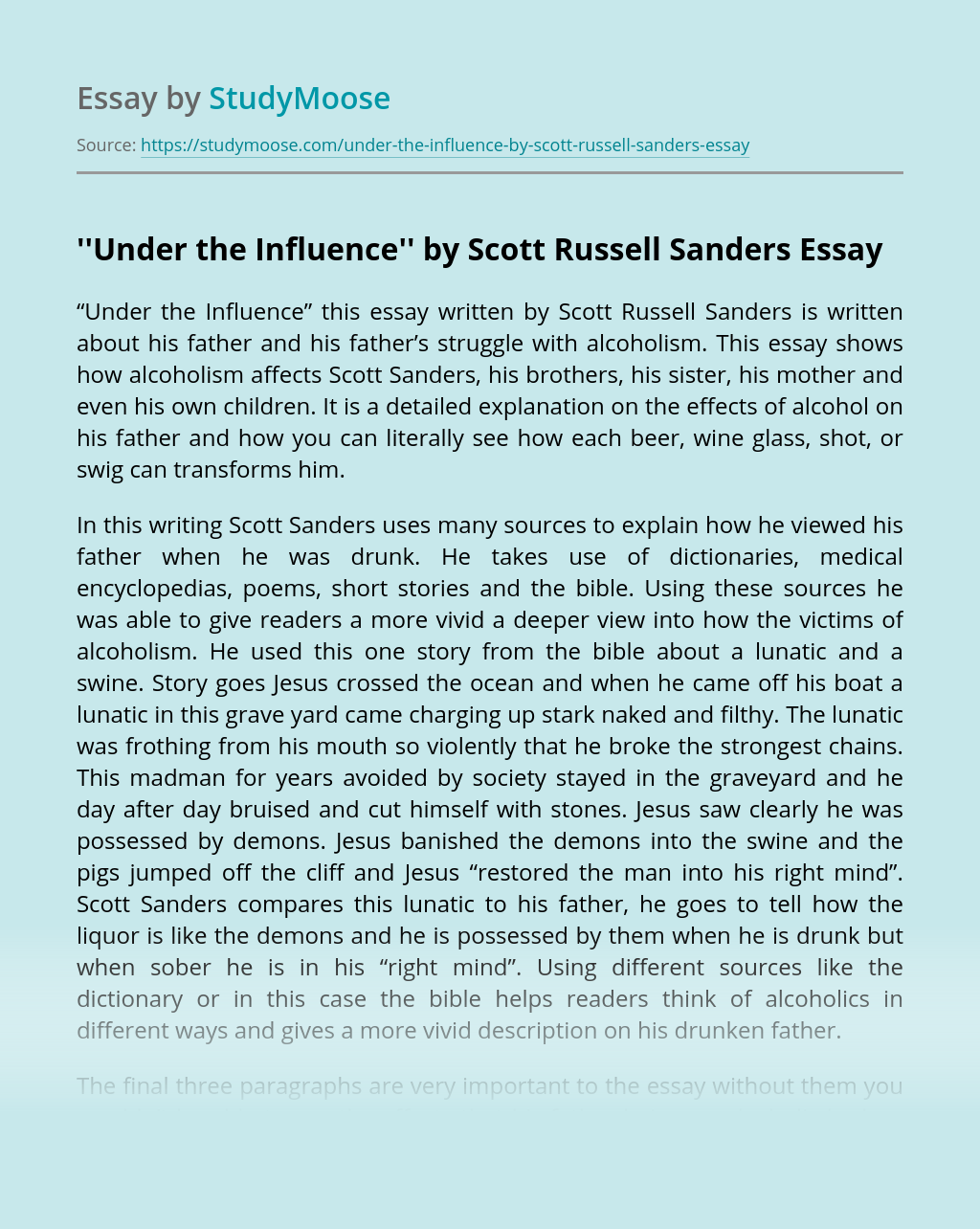 ''Under the Influence'' by Scott Russell Sanders