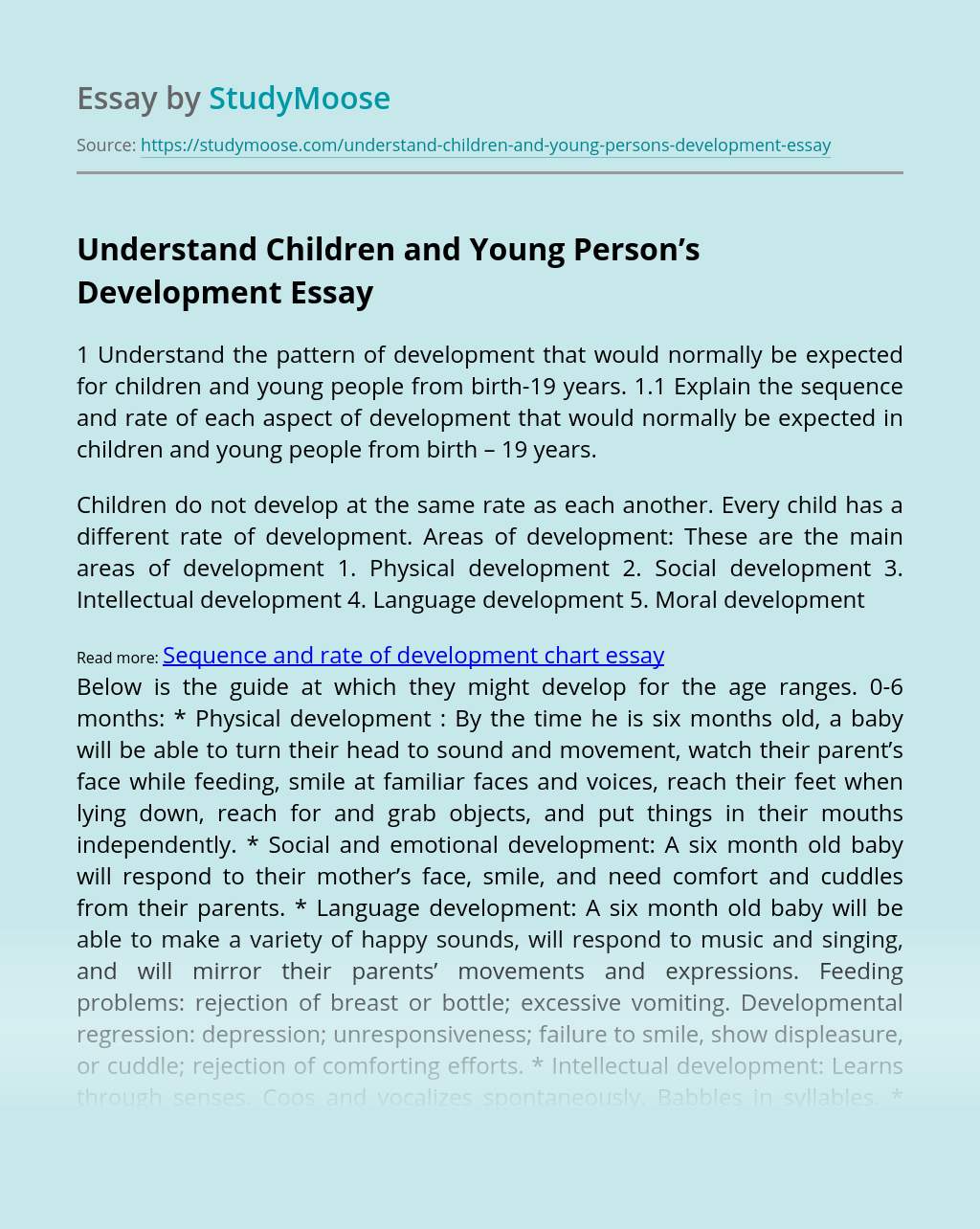 Understand Children and Young Person's Development