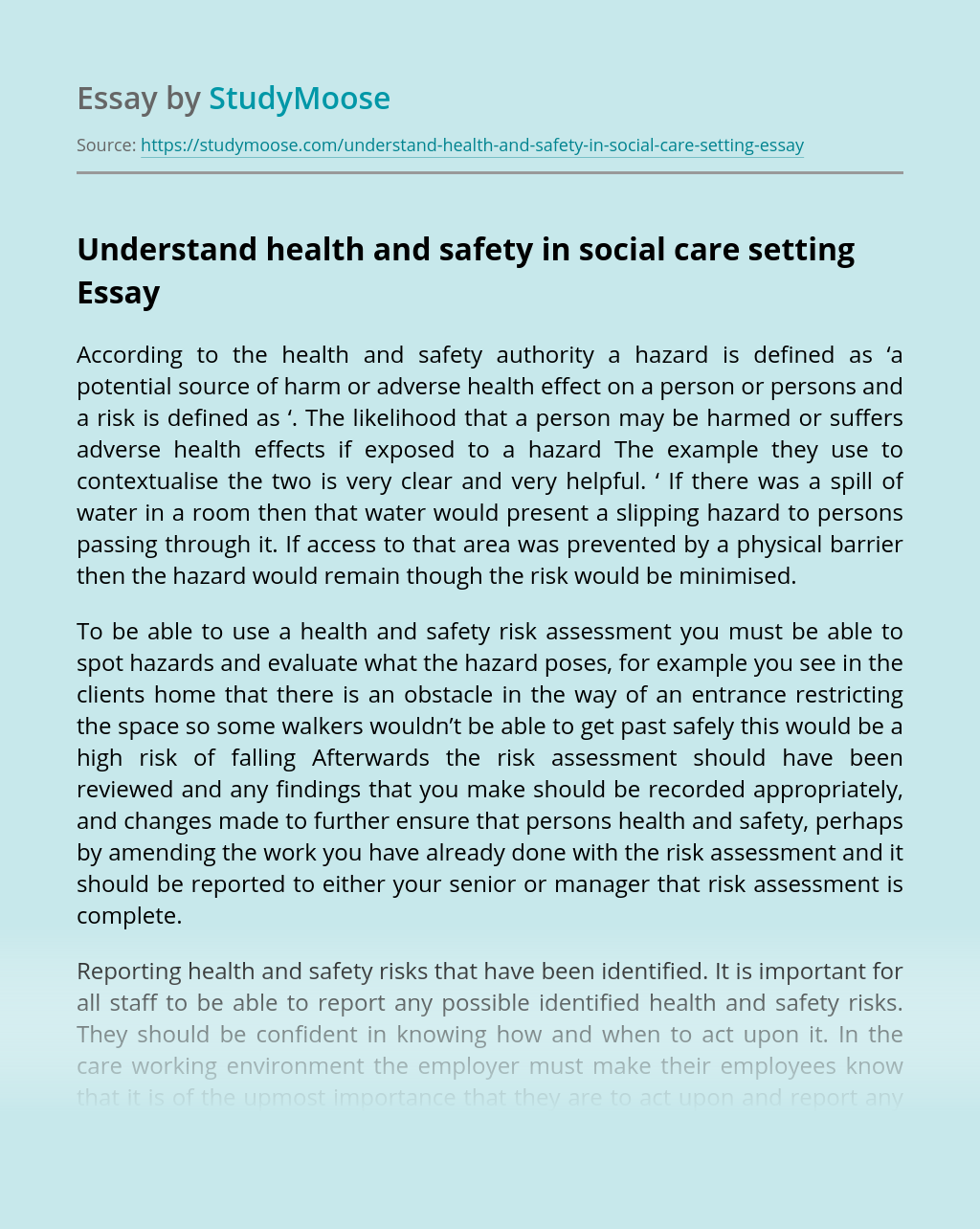 Understand health and safety in social care setting