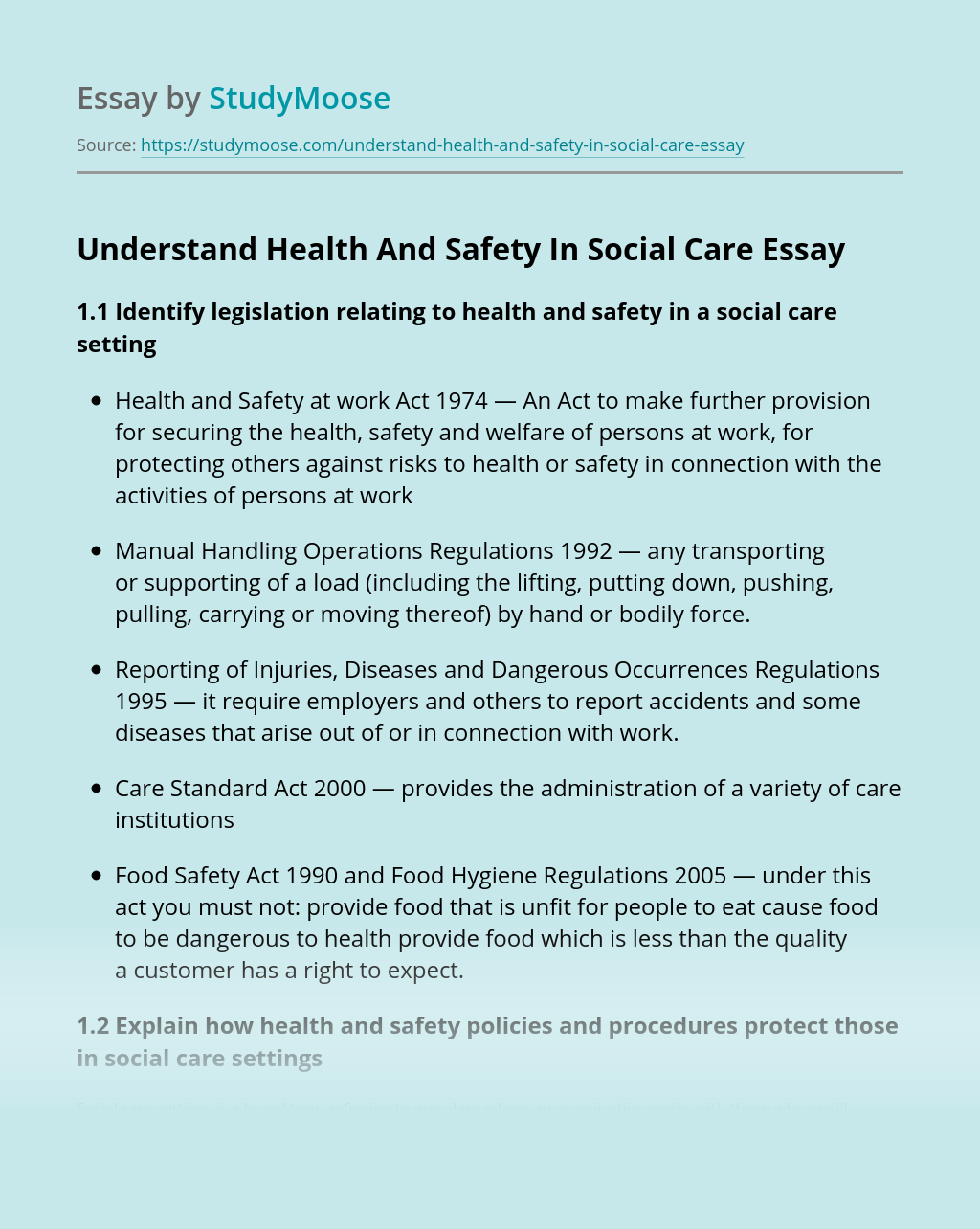 Identify Legislation Relating To Health And Safety In A Care