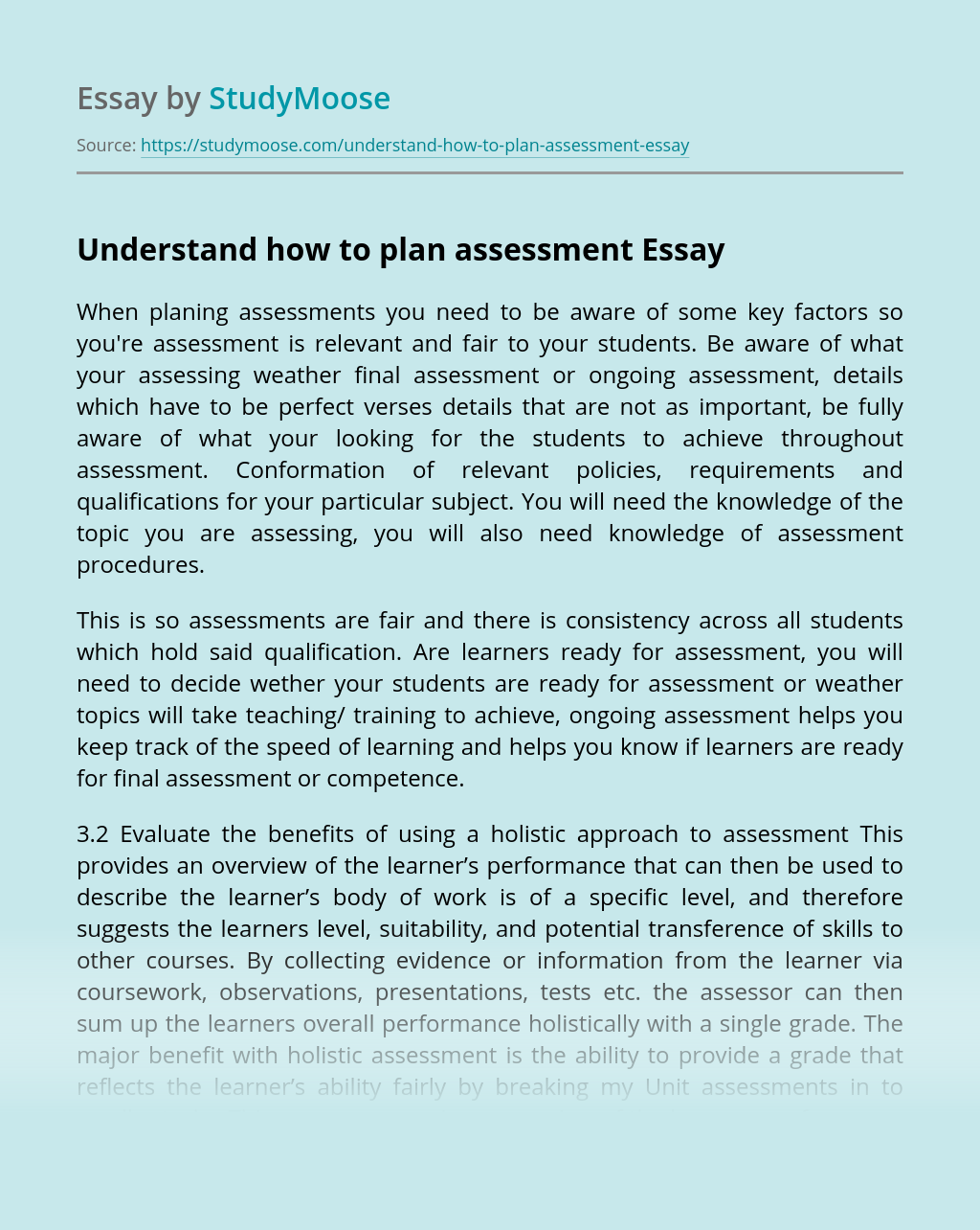 Understand how to plan assessment